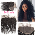 Полное Кружева Фронтальная Закрытие 8А Малайзии Девственные Волосы Глубокая Волна 13x6 Кружева Фасады С Ребенка Волосы Отбеленными Узлами Слегка DHL бесплатно