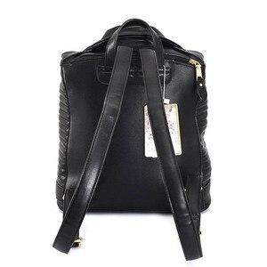 Image 4 - 有名なブランドの女性のバックパック革ブラックバックパックスクールバッグ十代の少女旅行バックパック女性のスーツの肩バッグ