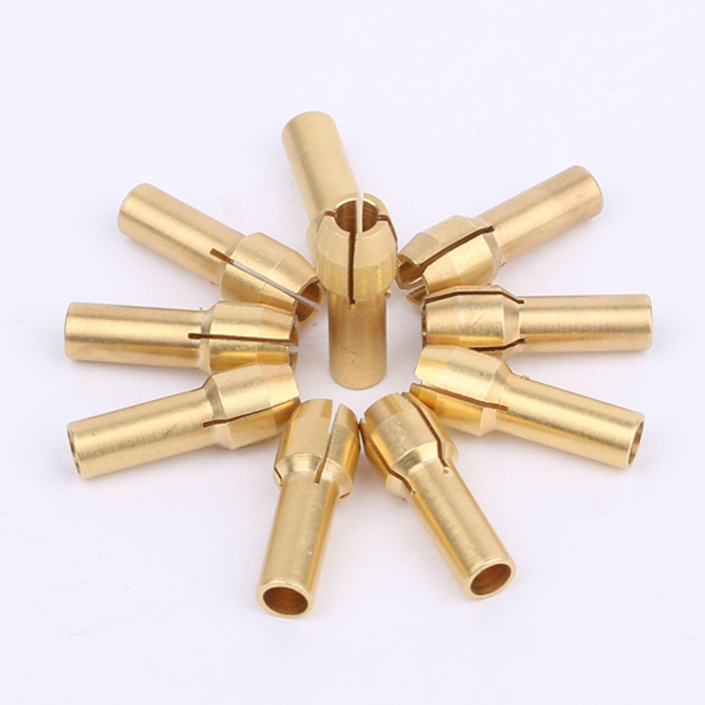 DRELD 10Pcs 3.2mm Mini Drill Chucks Adapter Dremel Mini Drill Chucks Adapter Brass Collect For Rotary Power Tool Accessories