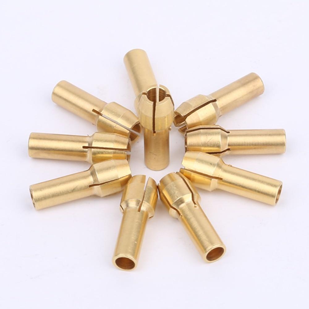 DRELD 10Pcs 3.2mm Mini Drill Chucks Adapter Dremel Mini Drill Chucks Adapter Brass Collect For Rotary Power Tool Accessories