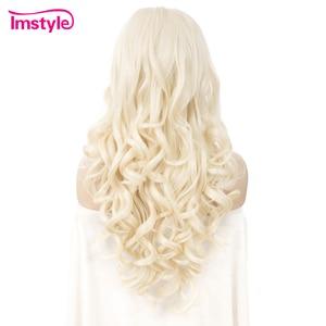 Image 4 - Imstyle בלונד סינטטי תחרה מול פאה ארוך גלי פאות עבור נשים חום סיבים עמידים טבעי קו שיער תחרה פאת פאת קוספליי