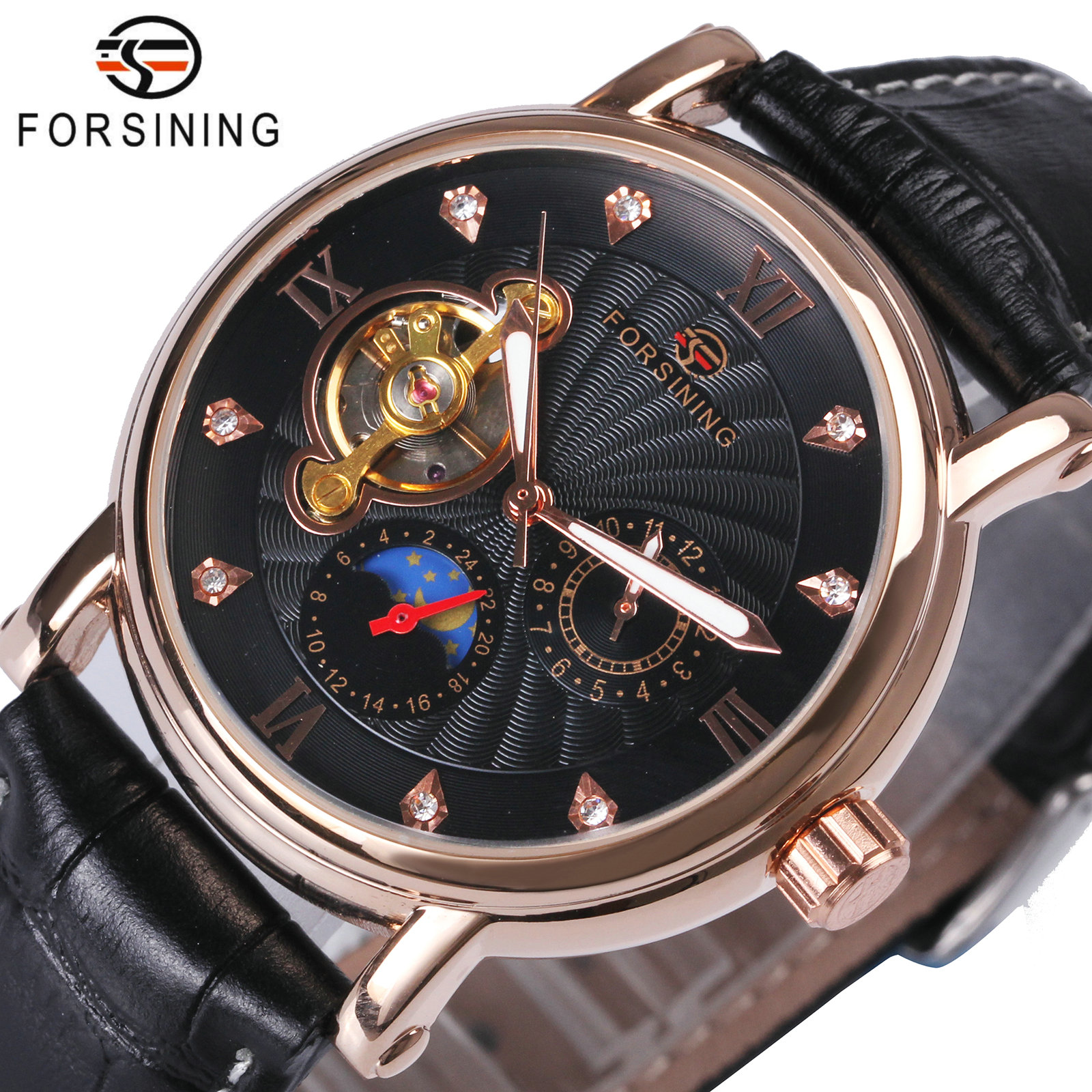 FORSINING Rose Golden Tourbillon Mechanical Mens Watches Top Brand Luxury Sun Moon Display Crystal Skeleton Dial Watch Men forsining fashion tourbillon watch men genuine leather strap skeleton tooeau dial date mechanical mens watches top brand luxury