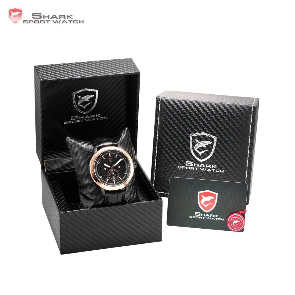 Luxury Leather Gift Box Horn Shark Sport Watch Auto Date Day Quartz Mens Water Resistant Relojes Watches Montre Homme /SH355-359 v neck solid color convertible jumpsuit