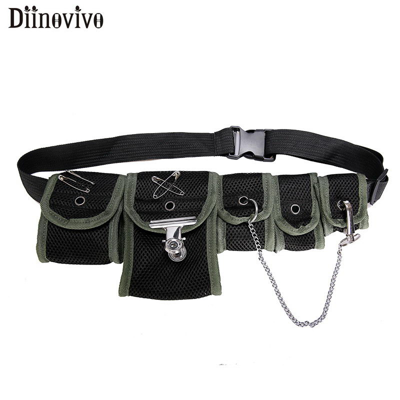 DIINOVIVO Multi Pocket Hip Bag Tactical Package Fanny Pack Female Fashion Unisex Chest Bag Functional Women's Waist Bag WHDV1100