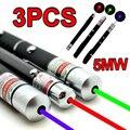 3 ШТ. Высокой Мощности Военной Ведущий 5 МВТ Зеленый + Синий Voilet + красный Лазер Рэй Лазерная Указка Pen Canetas Лазерная powerpoint ведущий