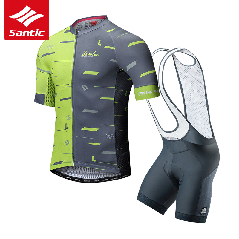 Santic Cycling Jersey Set Men Triathlon Cycling Skinsuit 2019 Pro Team MTB Road Bike Bicycle Jersey