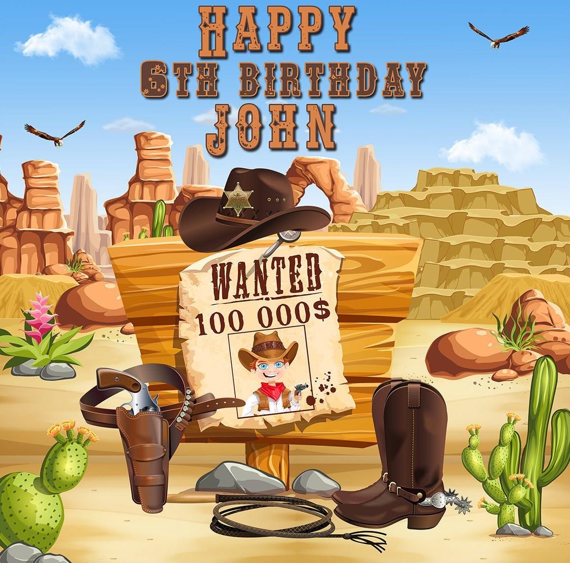 Cowboy personnalisés D'anniversaire wild west cactus photo toile de fond Haute qualité Ordinateur imprimer parti photographie fond de studio