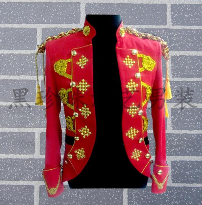 Red men suits designs royal cosplay stage costumes for singers men sequin blazer dance clothes jacket style dress rock 2018 new