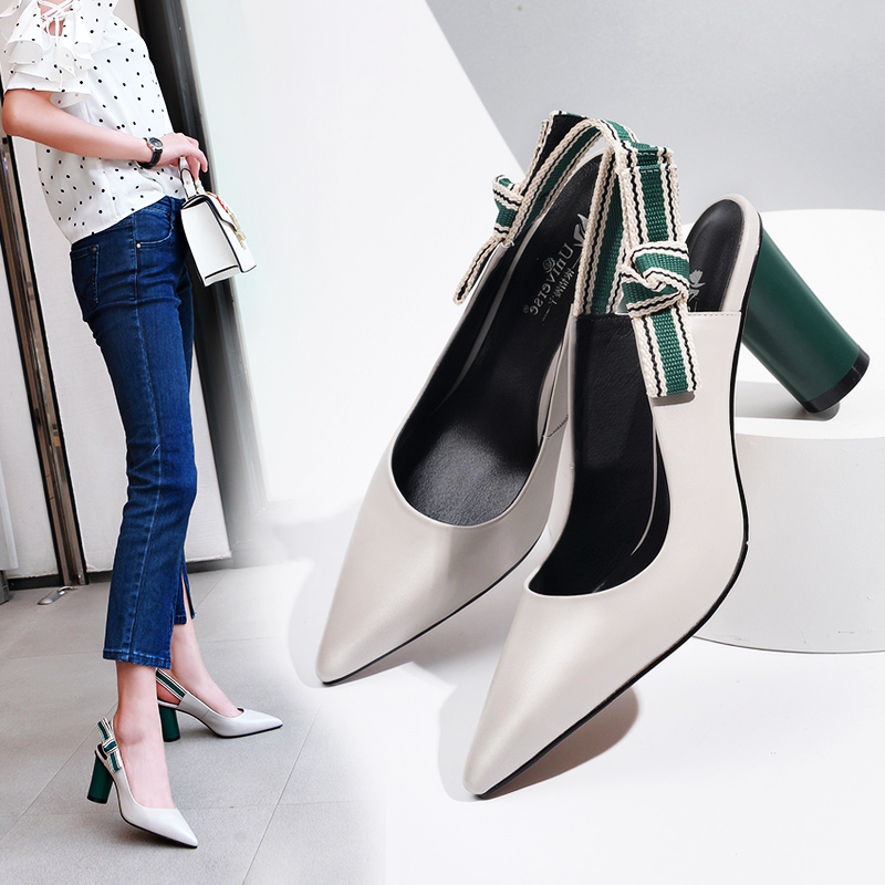 Universe Leisure Genuine Leather Pumps Women Shoes Slingbacks Womens Heels High Quality Butterfly-knot Ladies Pumps 8cm H134