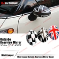 One Pair For Mini Cooper R55 R56 R57 R60 R61 ABS Outside Rearview Side Mirror Cover Cap Shell Union Jack Countryman Accessories