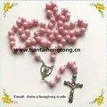 O envio gratuito de rosa e marrom bonito 8mm rosário rosario religiosa com Jesus cristo crucifixo acrílico AB revestido