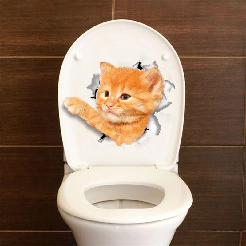 Водонепроницаемый забавный кот собака 3D ПЭТ стены Стикеры отверстие вид Ванная комната туалет Гостиная Домашний Декор Наклейка плакат Нак...