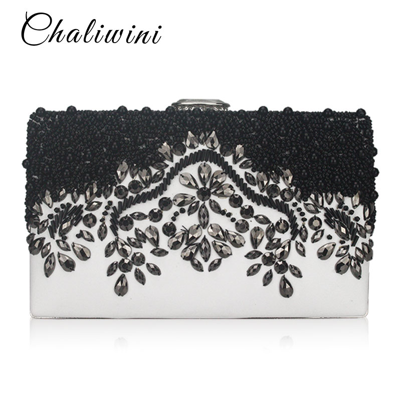 Fashion Pu Black/White Crystal Embroidery Beaded Women Evening Bags Small Chain Shoulder Messenger Chain Diamonds Day Clutches