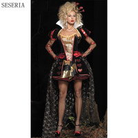 SESERIA Sexy Adult Women Poker The Red Queen Of Hearts Costume Alice In Wonderland Dress Carnival