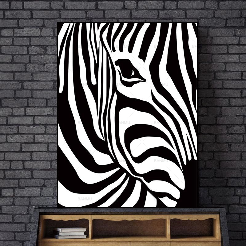 Abstract Wall Picture Poster Olohuone Art Decoration Scandinavian Zebra Stripes Nordic Canvas maalaus Tulostaa ei kehystä