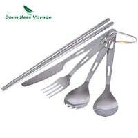 Voyage sans bornes titane Camping couverts cuillère fourchette Spork couteau baguettes Portable vaisselle couverts ensemble Ti1519B
