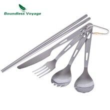 Boundless Voyage Titanium Camping Cutlery Spoon Fork Spork Knife Chopsticks Portable Tableware Flatware Set Mess Kit