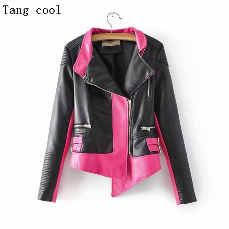 Tng cool 2019 Faux Soft   Leather   Jacket women long sleeve Pink Punk rock Biker coat Autumn Zipper Motorcycle PU Jacket