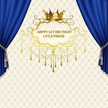 Laeacco Photo Backdrop Happy Baby 1st Birthday Party Gold Crown Curtain Pattern Poster Backgrounds Photocall Studio