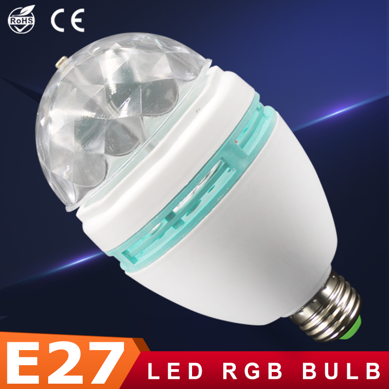 Ampoule led rgb crystal stage rotating lamp e27 3w 85 265v - Bombillas led para casa ...