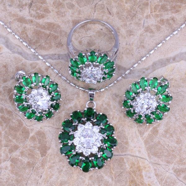 86813c9bc830 Brillante verde cubic zirconia blanco CZ plata Juegos de joyería Pendientes  anillo pendiente tamaño 6 7 8 9  10 s0425