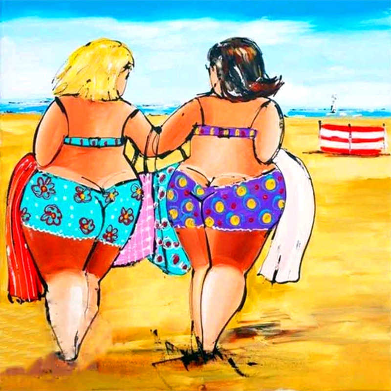 Full Square Round Drill 5D DIY Diamond Painting Beach Fat Woman 3D Embroidery Cross Stitch Mosaic Rhinestone Home Decor Gift
