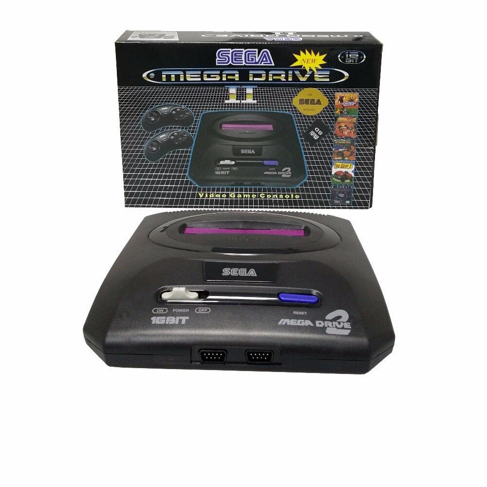 16 PEU SEGA MEGA DRIVE MD2 rétro TV jeu vidéo console soutien MINI SD carte filaire double mannette Construit dans 9 jeux