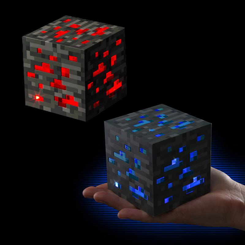 Minecraft Toys Original Light Up Minecraft Lamp LED Redstone Ore Square Minecraft Night Figure Toys Light Up Diamond Ore