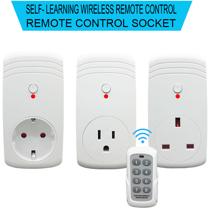 XINGG 2018 New RF Remote Power Outlet US UK EU Wireless Remote Control Socket Plug for Smart Home Appliance wireless smart socket power control appliance control switch compatible with home security 868mhz x6 alarm system eu uk us plug