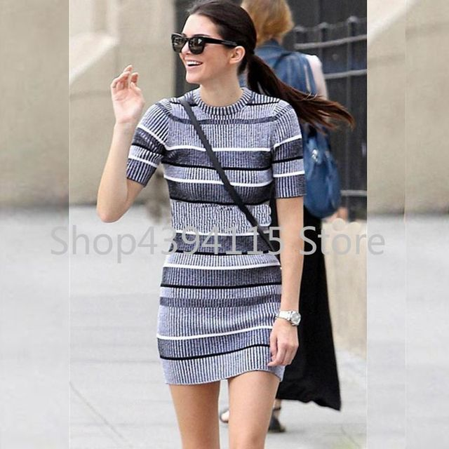 Us 20 3 49 Off 2019 Spring Kendall Jenner Dress Elegant Grey Stripe Knitted Short Sleeve Casual Summer Dress Sexy Bodycon Party Dresses Vintage In