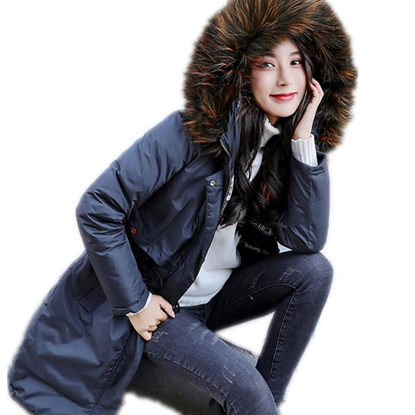 2018 new winter jacket women   parka   hooded coat fur collar thicken warm long jacket female plus size 3XL