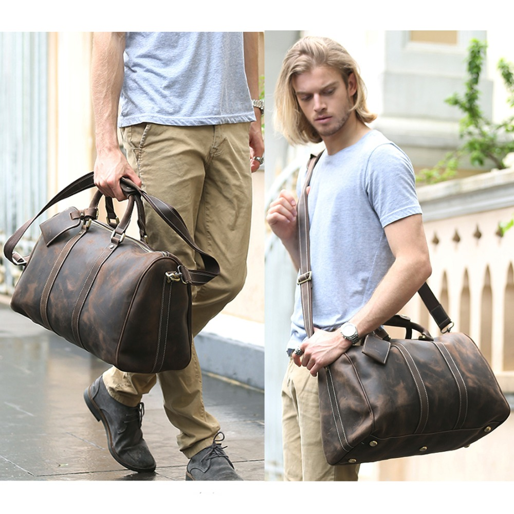 baae8c9e6c1e US $168.0 |TIDING Simple Design Leather Luggage Bag Men Women Large  Capacity Travel Bag Vintage Outlook Laptop Tote Men Duffle Bag 3061-in  Travel Bags ...