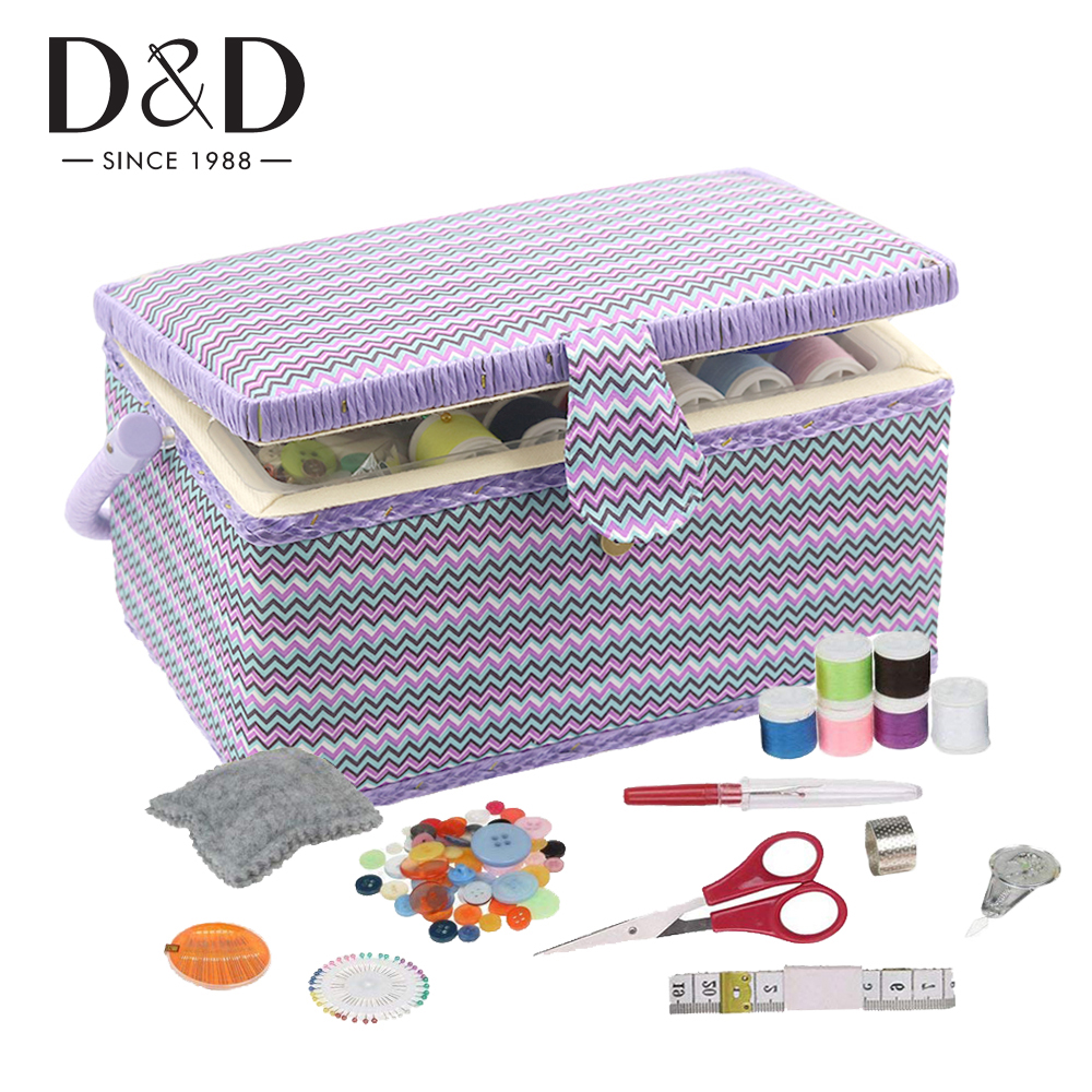 Wooden&Fabric Craft Vintage Sewing Basket With Sewing Kit Accessories DIY Kits Storage Box Best Christmas Gift Box For Mom