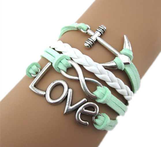 Oneckoha Handmade Braided Pu Leather Bracelet Sideway Vintage Alloy Ship Anchor Infinity Love