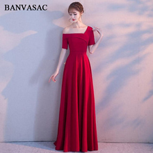 BANVASAC 2018 Boat Neck Draped Sash A Line Long Evening Dresses Party Asymmetrical Short Sleeve Backless Prom Gowns