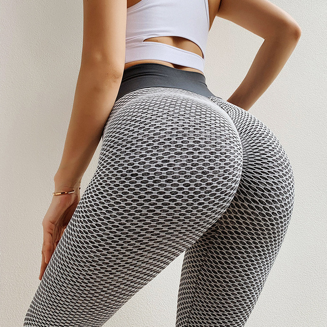 Women Fashion Print High Waist Elastic Push Up Ankle Length Polyester Leggings