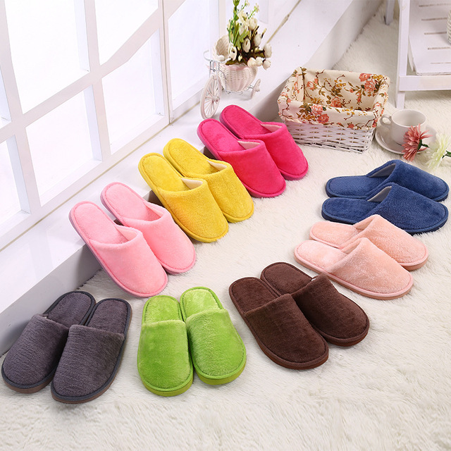 9328e46ba3f US $3.47 30% OFF|Candy Color Men Women Indoor Slippers EVA Sole Non Slip  Floor Slipper Winter Warm Soft Cotton Simply Shoes SH13-in Slippers from ...