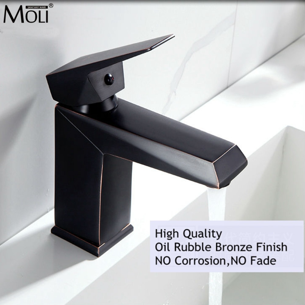Black Bathroom Sink Faucet Hot and Cold Water Mixer Crane Oil Rubble Bronze Copper Basin Sink