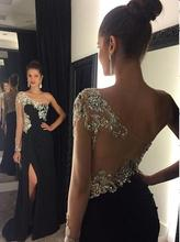 Robe De Soiree Long Prom Dress 2016 One-Shoulder Floor Length Side Slit A-Line Crystal Beading Chiffon Prom Pageant Formal Gown grace karin evening dresses long one shoulder floor length chiffon formal prom dress gowns robe de soiree longue 2018