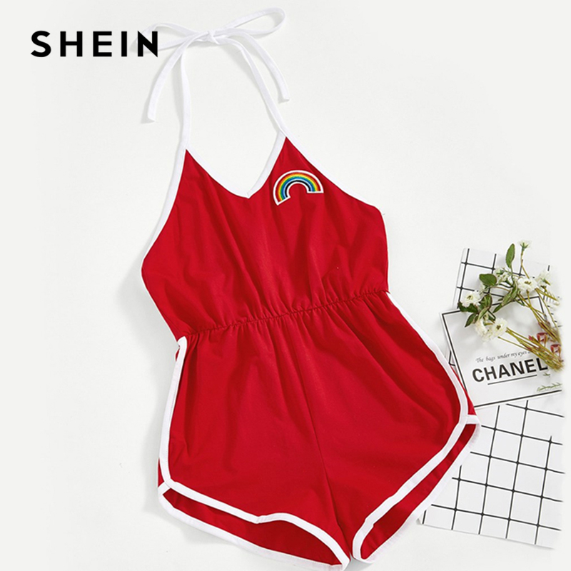 SHEIN Girls Red Rainbow Embroidery Halter Ringer Casual Romper Children Jumpsuits 2019 Fashion Sleeveless Striped Mini Jumpsuit fashionable spaghetti strap stripe flounce sleeveless romper for women