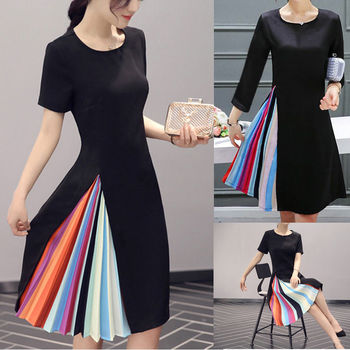 Summer Vintage Partial Pleated Rainbow Dress
