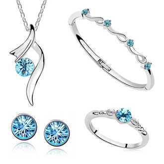 Fashion Austria Crystal Pendant Kalung/Anting-Anting/Gelang/Cincin Wanita Bintang Bersinar Pengantin Pernikahan Perhiasan Set