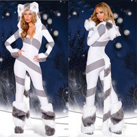 Halloween Carnival Game Costumes Adult Womens Sexy Animal White Polar Bear Jumpsuit Costume Fancy Cosplay Clothing