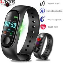 LIGE 2019New Smart Bracelet Sport Waterproof Watch Men Women Fitness Pedometer Heart Rate Blood Pressure Monitor Smart Wristband