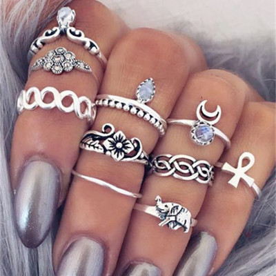 WLP 4-11 pcs/Set Bohemian ring set Vintage Punk Antique silver-Color Resin Finge