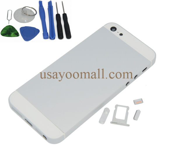 Silver Color Housing Replacement For iPhone 5,Back Housing Cover For Iphone 5 with tools free shipping