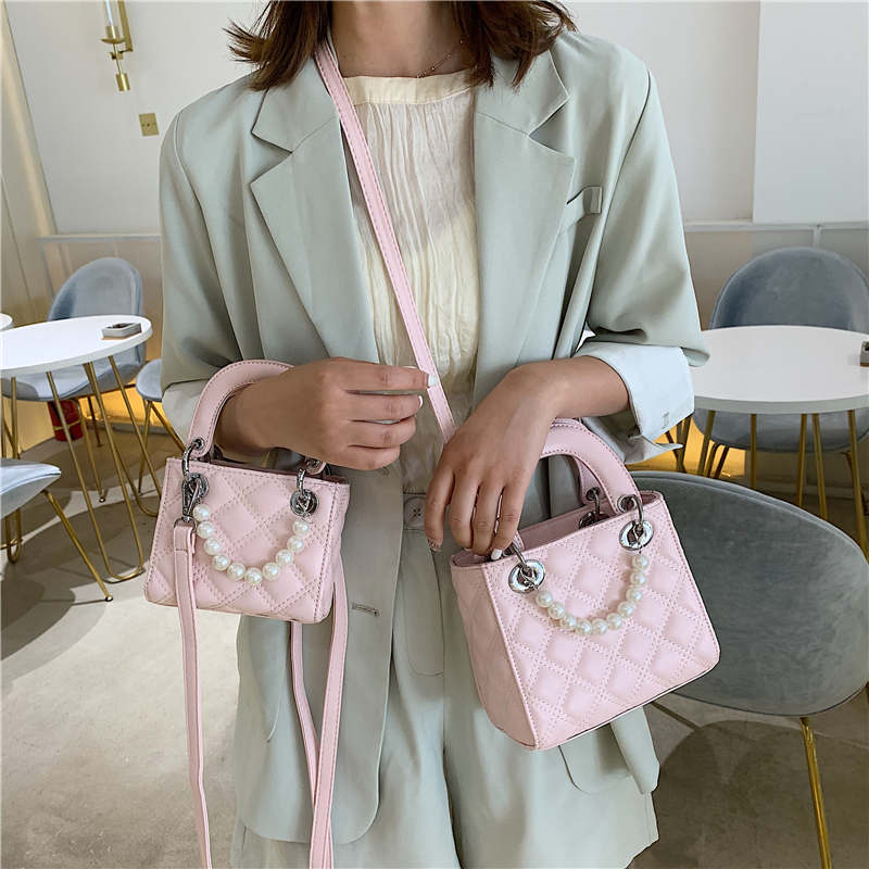 YASICAIDI Luxury Brand Small Flap Shoulder Bag Solid Diamond Lattice Leather Lady Girls Crossbody Bags With Pearl Sac Main Femme