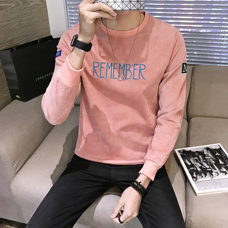 Otoño nueva Rosa Sudaderas hombres 2018 moda manga larga tracksuit Plus  size Sudaderas Hombre cuello redondo carta Jerséis hombres 32e230495b0a