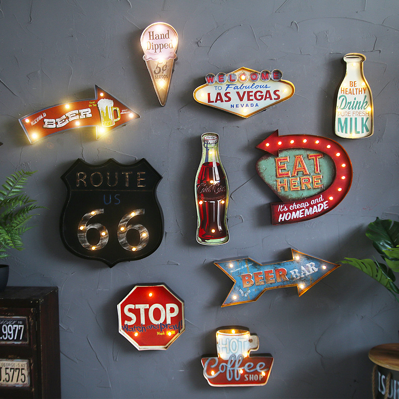 Vintage LED Light Metal Bar Sign Drink PURE MILK Hand-painted Cafe Wall Decor ...