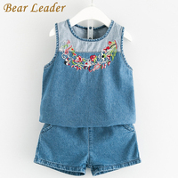 Bear Leader Girls Clothing Sets 2017 New Fashion Summer Style Denim Suits Sleeveless Floral Embroidery Shirt+Shorts 2Pcs Suits